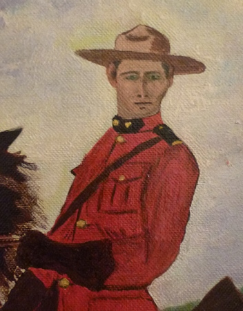 Mountie painting close up