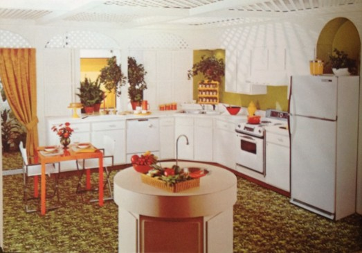 White carpeted 1971 Kitchen