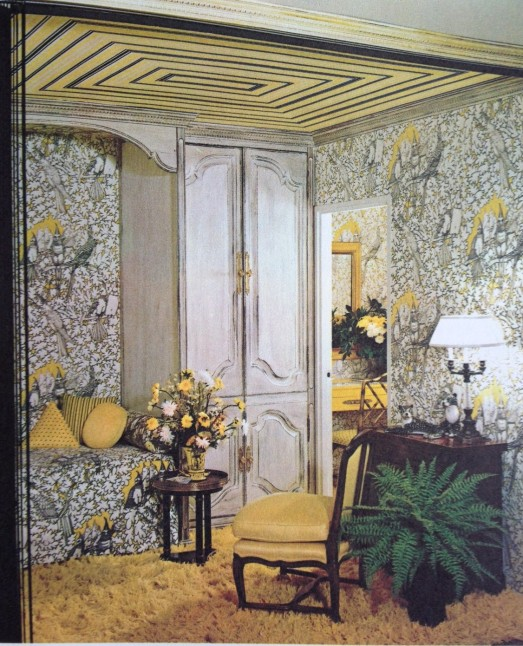 Yellow and White wallpapered Bedroom 1971