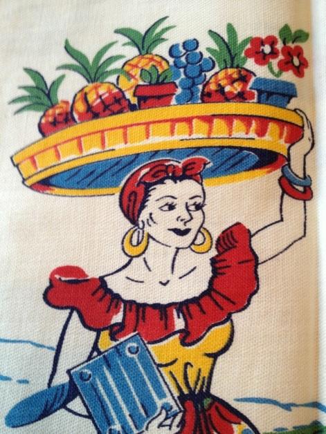 Vintage Caribbean tea towel