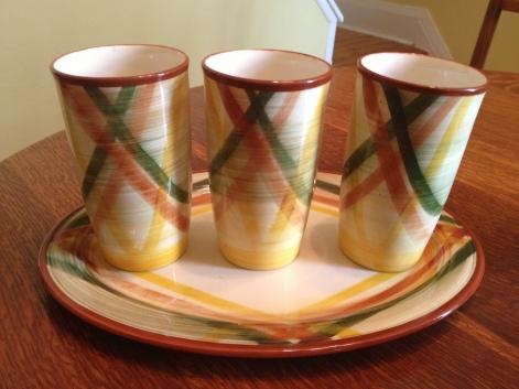 Vernonware tumblers - Homespun Pattern