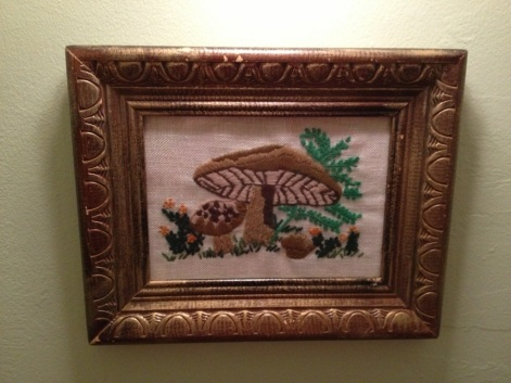 Kitschy mushroom needlepoint