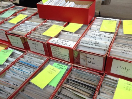 Boxes of vintage postcards